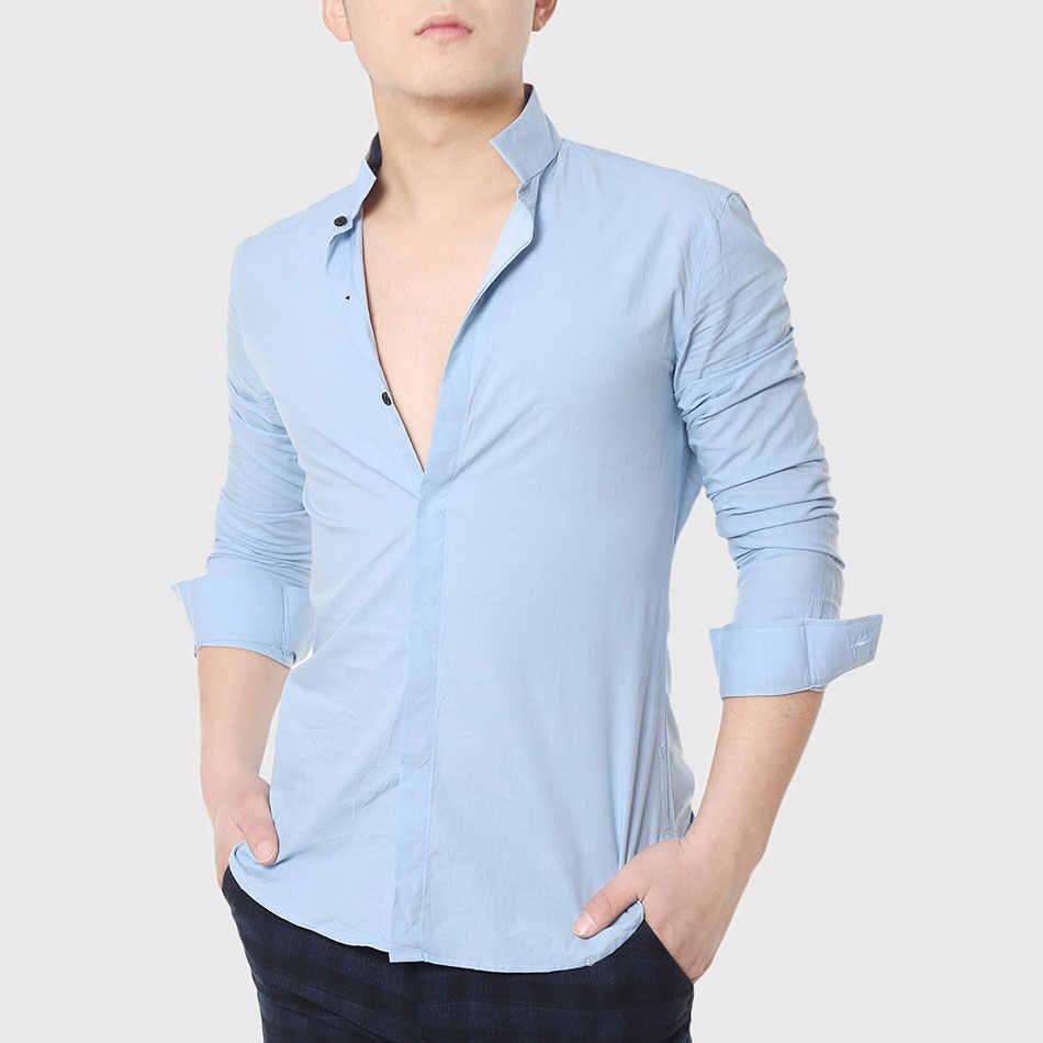 14a69c150b4 Men Formal Dress Shirts Mandarin Collar Skinny Shirt Long Sleeve Business Plain  Cotton Social Designer White