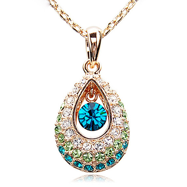 XS0087 Fashion 2017 Angel tears Necklace Drop Pendant Jewelry Colorful Crystal Popular necklaces for women