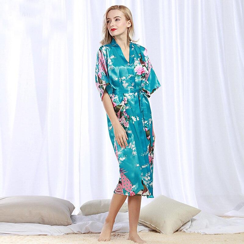 RB068 Marke Lange Robe Satin Seide Sexy Bademantel Frauen Nachthemd Robe Nachtwäsche Floral Bridemaid Robe Plus Größe Weibliche Nachtwäsche