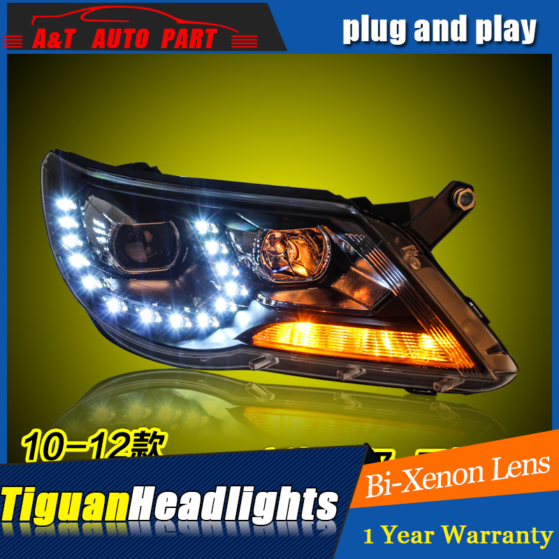 A&T Car Styling For VW Tiguan headlights 2010-12 For Tiguan LED head lamp Angel eye led DRL front light Bi-Xenon Lens xenon HID brand new superb led cob angel eyes hid lamp projector lens foglights for vw tiguan 2010 2012