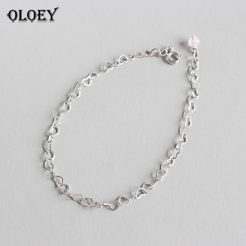 OLOEY Lovely Heart Chain Anklets for Women Girls Real 925 Sterling Silver Anklet Bracelet Foot Fine Jewelry Drop Shipping YMA021