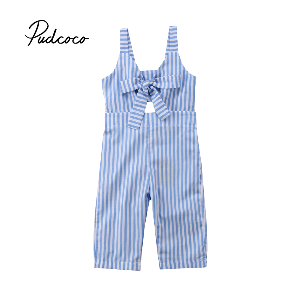 Pudcoco 2018 Summer Kids Baby Girls   Romper   Sleeveless Braces Bowknot Striped Bib Pants Sunsuit Jumpsuit Outfit Clothes 1-6T