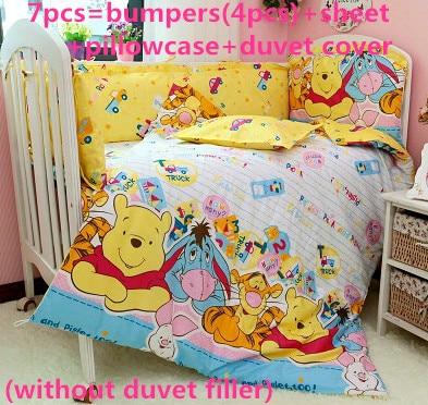 2017! 6/7PCS Baby beding bumper set Cute & Fancy cotton Washable Baby Cot Bedding Bumper Set Duvet Cover,120*60/120*70cm