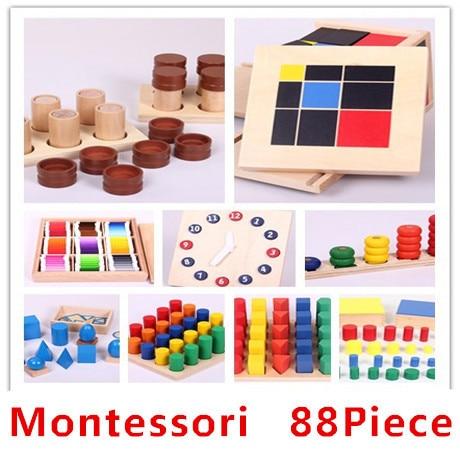 hot sale 88piece lot montessori set early development wooden toys blocks kindergarten infant. Black Bedroom Furniture Sets. Home Design Ideas