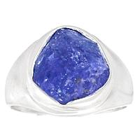 Genuine Tanzanite ROUGH Ring 925 Sterling Silver Jewelry,USA Size :7.5, MHBAR3754