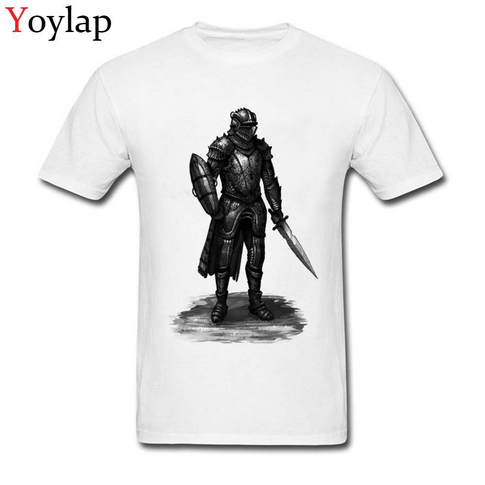 Fashion Men Cool Tops Cotton White T-shirts Short Sleeve Round Neck Street Trendy Summer Fall Clothing Warrior Print Retro Style
