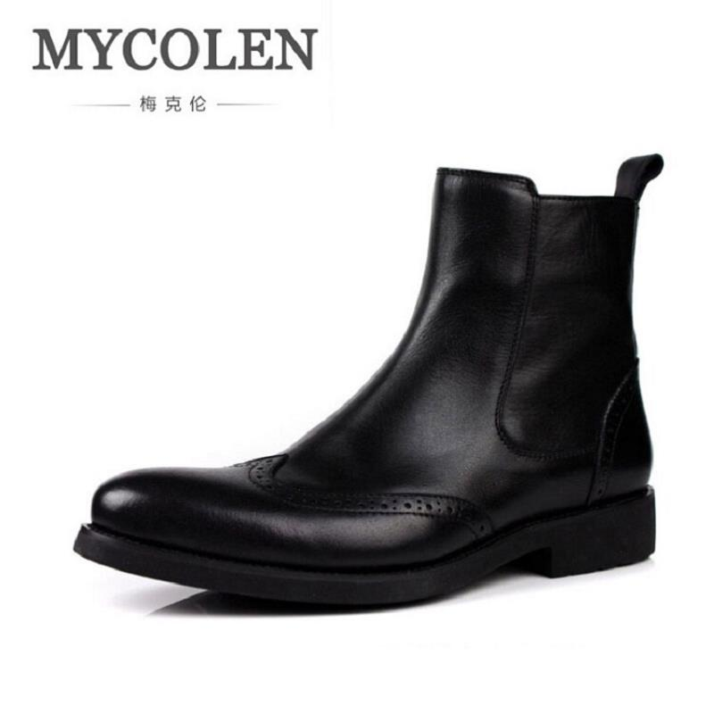 MYCOLEN New Pointed Toe Zip Ankle Black Boots Men Genuine Leather Motorcycle Boots For Men High Top Zipper Men Chelsea Boots 2018 fr lancelot new design winter men ankle boots genuine leather men short boots luxury brand men black men high chelsea boots