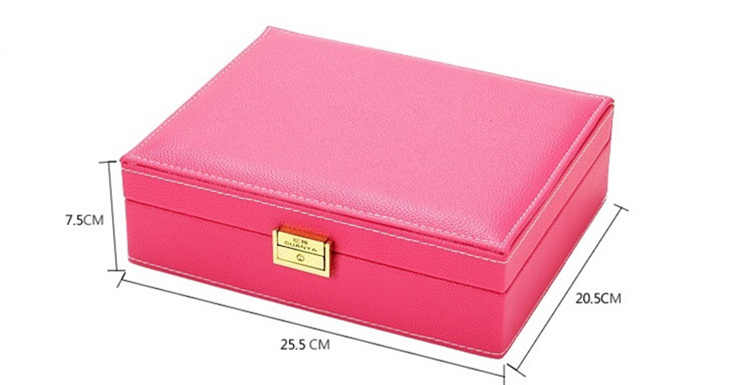 Nueva caja de almacenamiento de joyería de cuero de estilo de moda caja de almacenamiento de madera para niñas, anillos de collar, Etc organizador de maquillaje, joyas a Bisutería