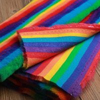 Luxury Colorful Faux Rabiit Fox Fur Rainbow Wool Fabric Coat Toy Cushion Mat DIY Sew Fabric ,0.5meter