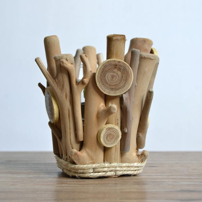 Modern style Handmade wood vintage home decoration candle holder birthday gift  -  U Design Home store