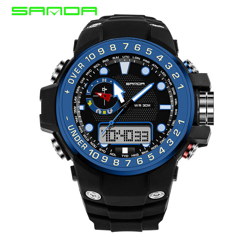 SANDA Fashion Men s Watch Men Outdoor Waterproof Led Sports Watches Digital Quartz Watch erkek kol