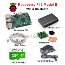 Sale Raspberry Pi 3 Model B Starter Kit with 5V 2.5A EU/UK/US/AU Power Supply 16GB NOOBS ABS Black Case HDMI Cable Heatsinks