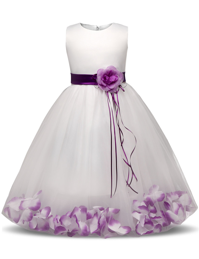 New Princess Dress 6 colors Girls Party Wear Petals Evening Gown Childrens Costume In Girl Clothing Kids Wedding Party