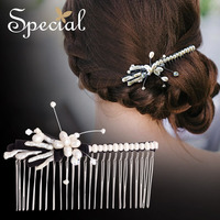 Special Fashion Jasmine Natural Pearls Hair Combs Sea Shell Hair Accessories Crystal Hairwear New Jewelry Gifts