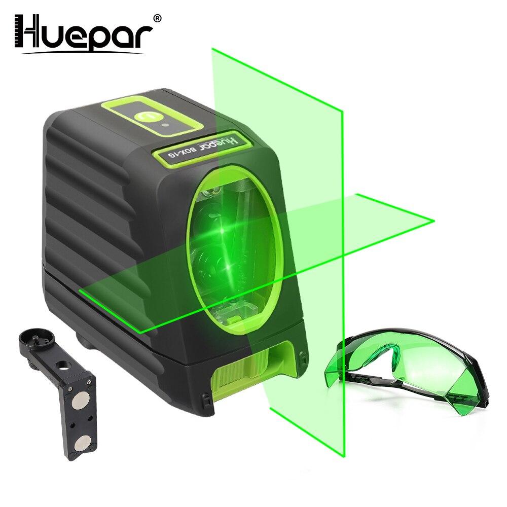 Huepar Self-leveling Laser Verde Fascio Verticale e Orizzontale Croce Laser a Livello di Linea Laser di 150 Gradi + Huepar Valorizzazione occhiali