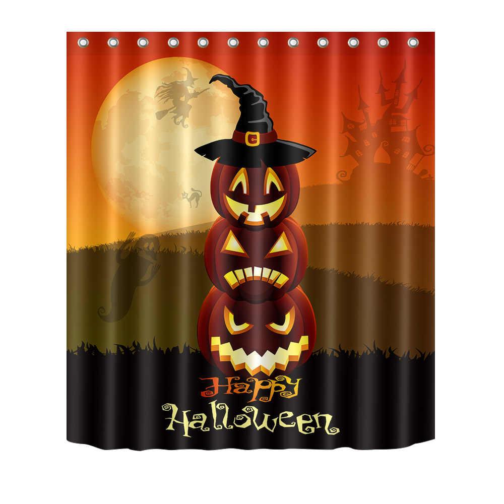 72 ''Happy Halloween стека тыква лампы носить шляпу Ванная комната Водонепроницаемый ткань душ Шторы полиэстер 12 Крючки Ванна набор аксессуаров