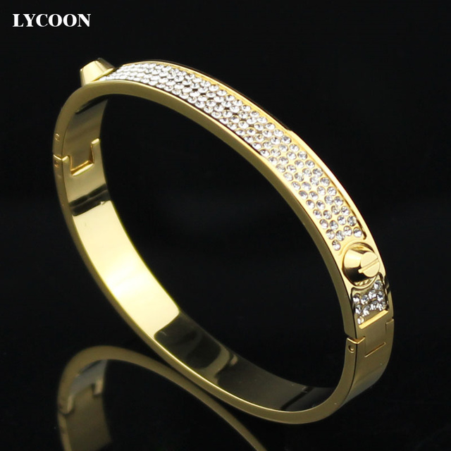 Fashion crystal cuff bracelet with CZ stone and nails yellow gold plated bangle stainless steel bangle cuff bracelets YYSE103