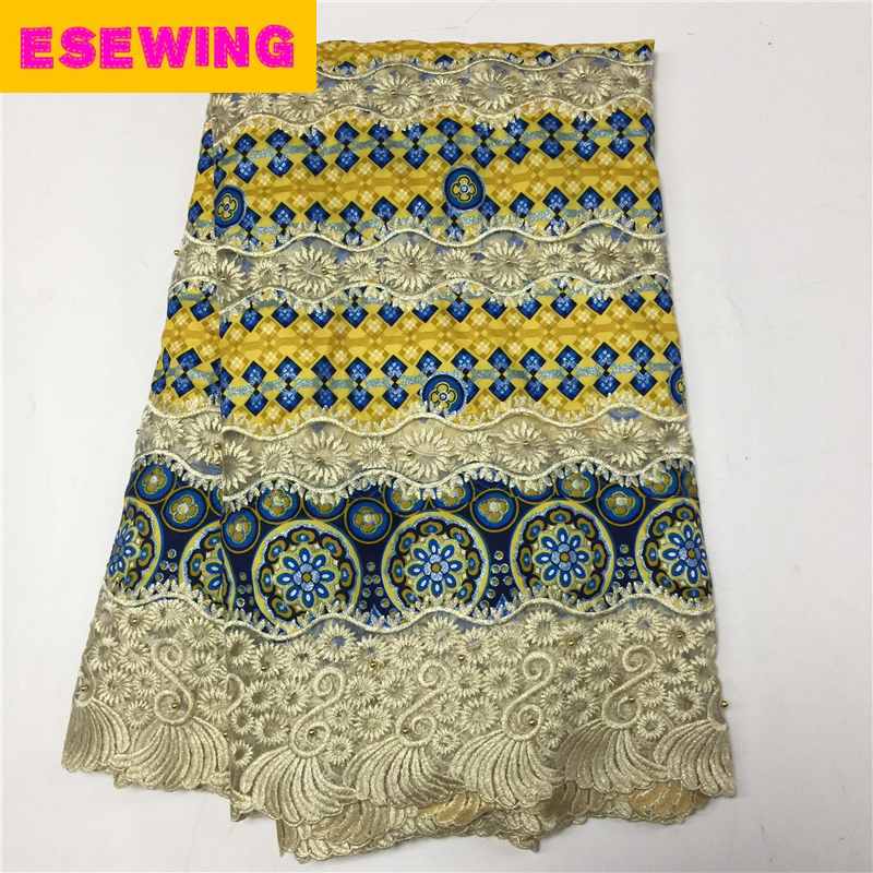 Yellow african lace fabric prints hollowed-out super wax hollandais with stones nigerian lace wax fabrics for fashion dresses