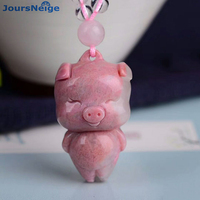 Wholesale Pink Natural Stone Pendant Hand Carved Pig Pendant Sweater Chain Necklace For Women Girl Gift Beauty Stone Jewelry