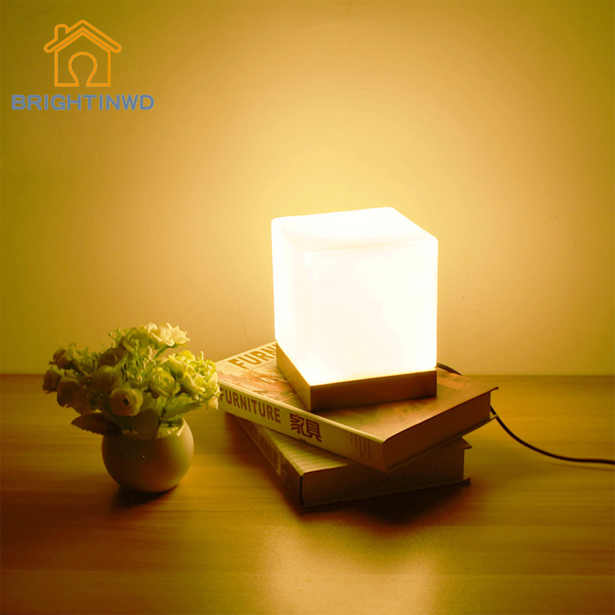 BRIGHTINWD Small Table Lamp Simple Glass Wood Warm Light Night Light Desk Bedroom Decoration Bedside Lamp