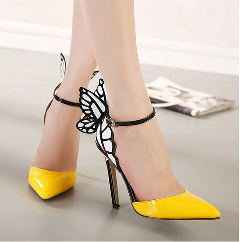 Big Size Thin High Heels Women Pumps Butterfly Sandals Stiletto Pointed Toe Sexy Wedding Shoes Party Yellow Purple Black In Womens From