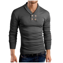 New Men 'S T -Shirt 2018 New Tee Tops Long Sleeve Turn -Down Collar Stylish Slim Fit T -Shirt Casual Men T Shirt M -Xxl 005 цена