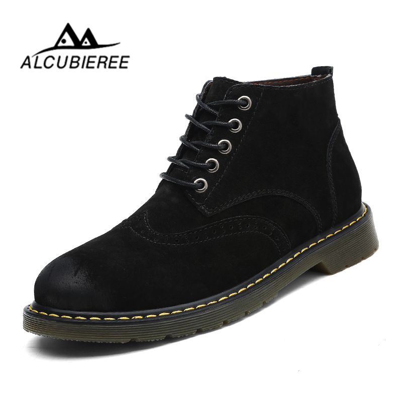 ALCUBIEREE Super Warm Men Boots Winter Leather Boots Waterproof Rubber Snow Boots England Retro Ankle Boots for Men Winter Shoes new men winter boots plush genuine leather men cowboy waterproof ankle shoes men snow boots warm waterproof rubber men boots page 10