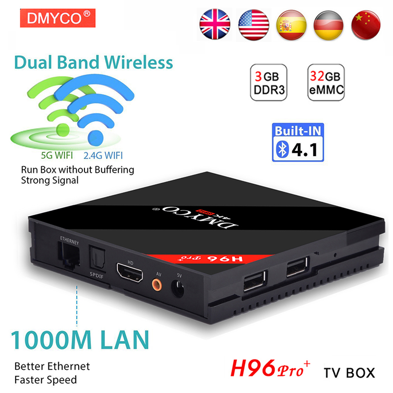 H96 PRO Plus Android 7.1 TV Box Amlogic S912 Octa Core 3G/32G ROM WiFi 2.4G/5G BT4.1 H.265 DLNA Miracast 4K H96 Pro Media Player цена