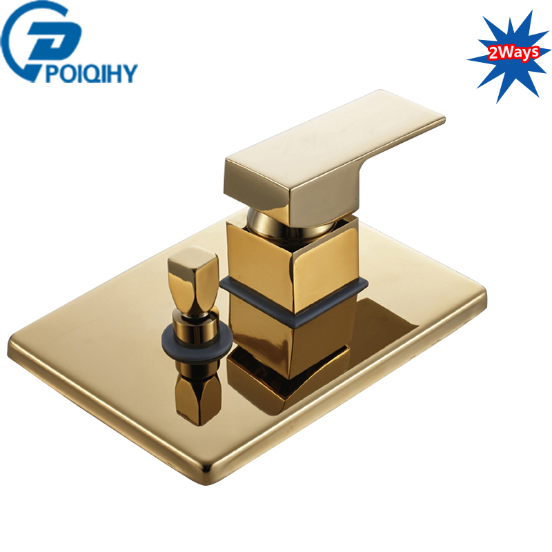 POIQIHY Golden Shower Valve 2 Ways Shower Mixer Faucet Control Valve Shower Cartridge Wall Mounted Shower Spool new hot sale wall mounted square shower mixer faucet control valve diverter 3 ways shower valve