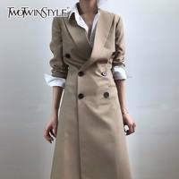 GALCAUR Tunic Long Trench Coat Female Lapel Collar Double Breasted Slim Basic Windbreaker Spring Fashion OL Clothing 2020