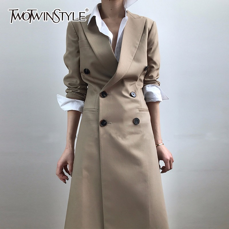 TWOTWINSTYLE Tunic Long   Trench   Coat Female Lapel Collar Double Breasted Slim Basic Windbreaker Spring Fashion OL Clothing 2018