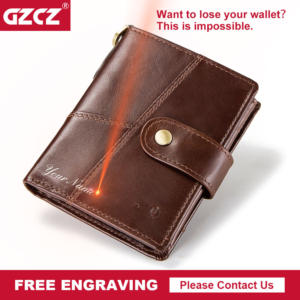 GZCZ Genuine Leather Wallet Men Coin Purse Small Male Clutch Wallets Portomonee Hasp Mens Money Bag Card Holder Free Engraving men wallet male cowhide genuine leather purse money clutch card holder coin short crazy horse photo fashion 2017 male wallets