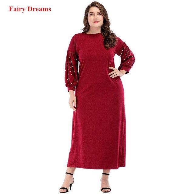 Muslim Abaya Wanita Musim Semi Musim Gugur Manik-manik Merah Panjang Gaun  Kaftan Muslim Turki d9acb275ea