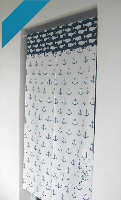 Us 150 Mittelmeer Cartoon Anker Dolphin Blau Weiß Splice Dekorative Tür Vorhang Partition Vorhang Anpassbare In Mittelmeer Cartoon Anker