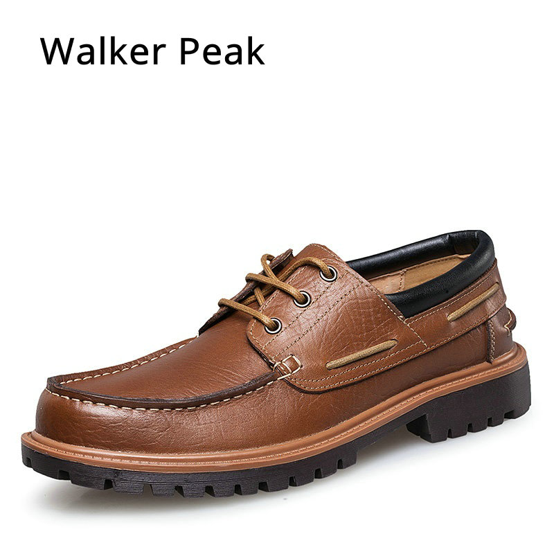 Spring Summer Men's Boat Shoes Casual Flat Lace Up Round Toe Shoes Comfortable Handmade Genuine Leather Shoes for man walkerpeak foreada genuine leather shoes women flats round toe lace up oxfords shoes real leather casual boat shoes brown pink size 34 40