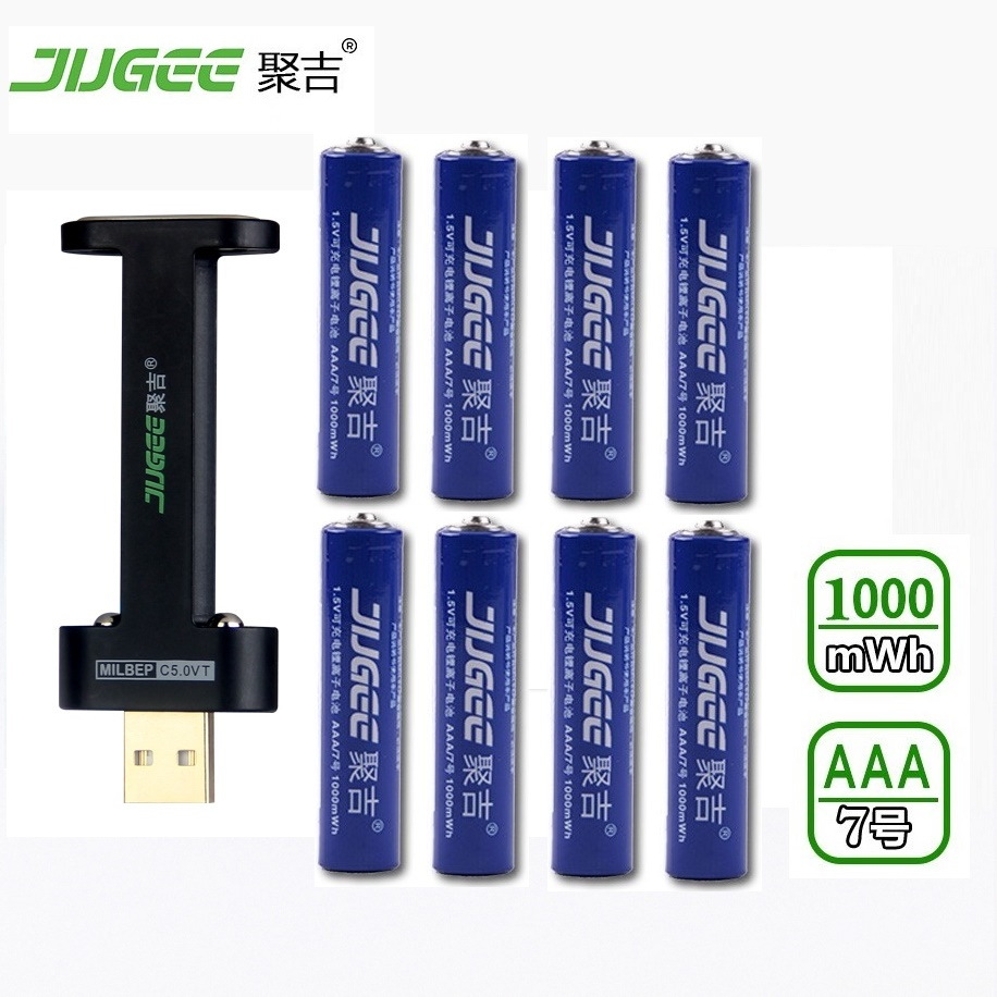 8pcs 1.5 v AAA lifepo4 lithium ionen batteries JUGEE 1000mWh rechargeable li-ion Li-polymer Li-Po battery+2 SLOTS charger 4pcs jugee 1 5 v aaa lithium ionen batteries 1000mwh rechargeable li ion li polymer li po wireless mouse calculator battery