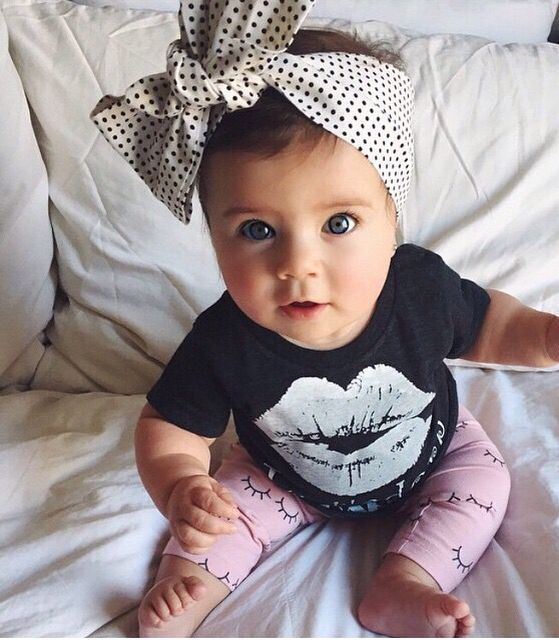 baby girl clothes 2017 children clothing sets Little Girls Lip Print Top + with Pink Leggings girls Outfits kids Clothes Set