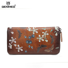 GENMEO Brand New Arrival Genuine Leather Zipper Wallet Women Coin Purse Simple Flowers Cow Hand Strap Bolsa Feminina