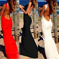 Summer Fashion Women Beach Party Elegant Slim Maxi Dress Sexy Backless Sling Long Dress Open Back Vestidos Red White Black S M L