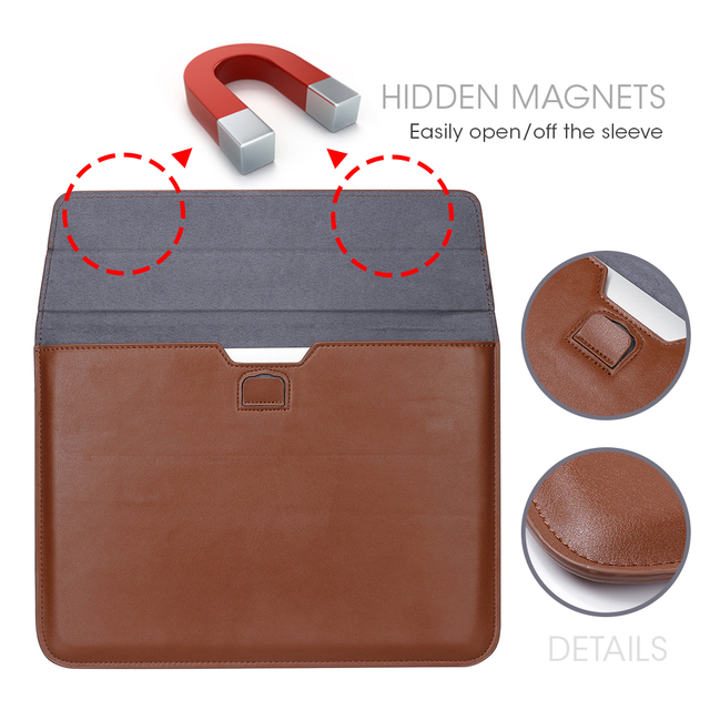 VOGROUND New Leather Sleeve Protector Bag Case For Apple Macbook Air Pro Retina 11 12 13 15 Laptop Cover For Mac book 13.3 inch
