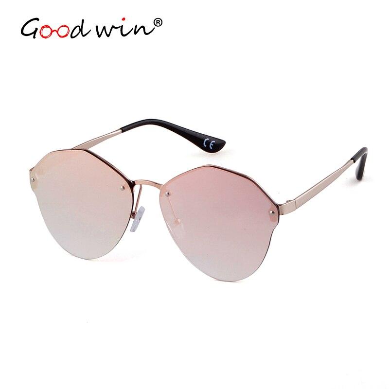 GOOD WIN 2018 PR Evolution Mirrored Women Sunglasses Irregular Rimless Barbie Pink Sun Glasses Gold Metal Frame Shades Polygon