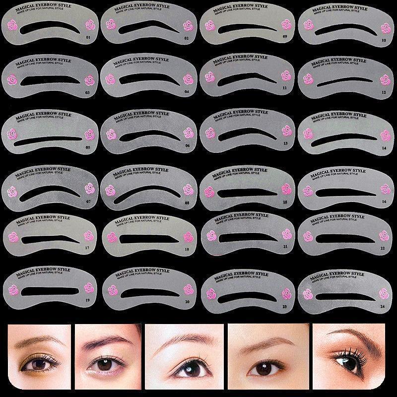 BearPaw 24Pcs Styles set Pro Reusable Eyebrow Stencils Fashion Shaping Grooming Kit Makeup Shaper Template Tool