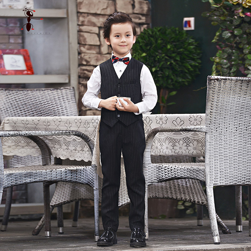 Kung Fu Ant Single Breasted Striped Casual Boys Single Vest Suits Terno Menino Boy Suits Formal D129