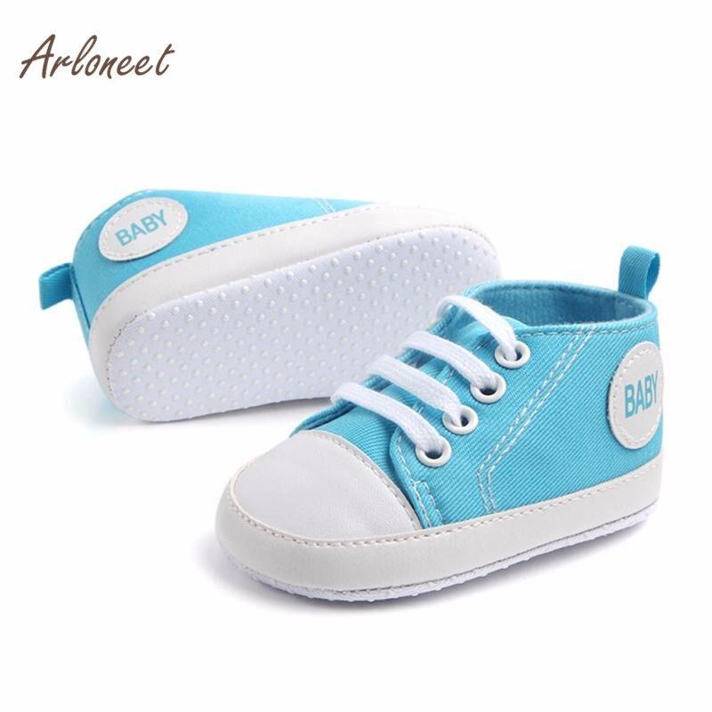 ARLONEET Newborn Infant Baby Boys Girls Solid Canvas Anti-slip Soft Shoes Sneaker Anti-slip Soft first walker RS3JAN22