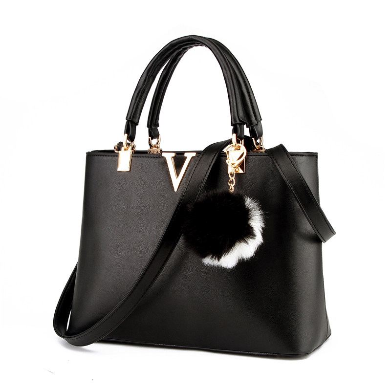 Fur Ball Ornamet Women Occident Style Simple font b Handbag b font Designer Stlish Shoulder Bag