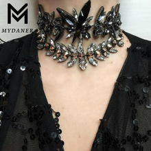 MYDANER 2017 Women Fashion Luxury Crystal Choker Chunky Necklace for Women Maxi Collar Short Necklace Wedding Statement Jewelry