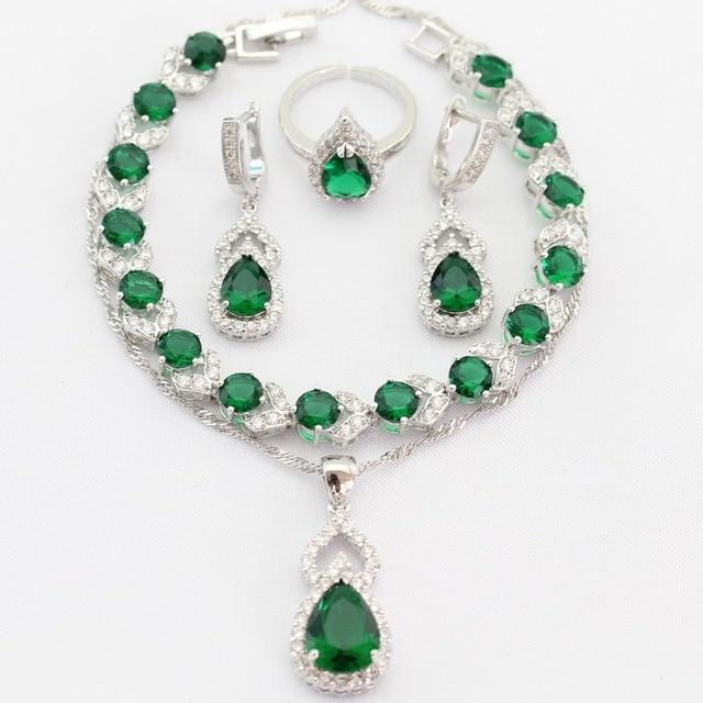Gota de agua Verde Esmeralda Imitado Plateado Plata de Las Mujeres Pendientes de Gota Colgante de Collar de Sistemas de La Joyería Anillos de Regalo de Navidad de la Pulsera