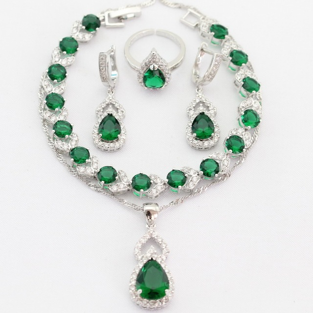 Water Drop Green Imitated Emerald Silver Plated Women Jewelry Sets Necklace Pendant Drop Earrings Rings  Bracelet Christmas Gift