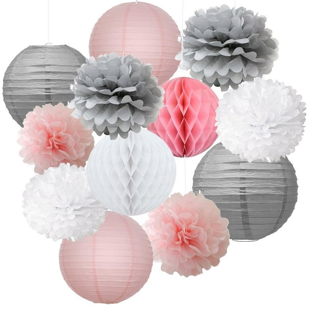 12pcs Mixed Pink Grey White Decorative Paper Craft Flower Hanging