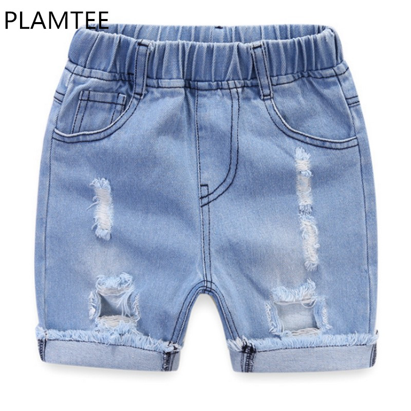 PLAMTEE New Summer Kids Child Broken Hold Denim Shors Fashion Summer Elastic Waist Children Shorts Baby Clothing 2018
